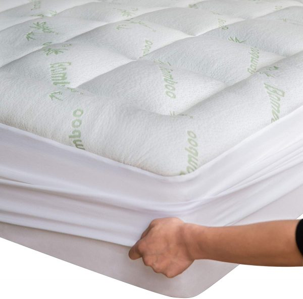 Niagara Sleep Solution Bamboo Mattress Topper Twin Cooling Breathable Extra Plush Thick Fitted 20 Inches Pillow Top Mattress Pad Rayon Cooling Ultra Soft (Bamboo, Twin 39x75 Inches)