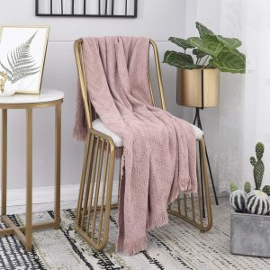 SIMPLEOPULENCE Simple&Opulence Luxury Vintage Cotton Throw Blanket Cable Knit Woven with Tassels Cozy Blanket Scarf Shawl Farmhouse Decoration (Dusty Rose)