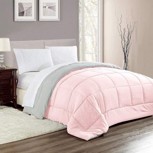 Woven Trends All Season Twin Comforter, Down Alternative Comforter Hotelier Collection Reversible, Stitched Quilted with Soft Microfiber Fill Bedding (Twin, Light Pink/Gray)