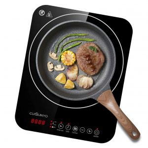 CUISUNYO Portable Induction Cooktop, 1800W Electric Stovetop Burner with Digital Sensor and Safety Child Lock