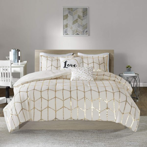 Intelligent Design Raina Comforter Set, Full/Queen, Ivory/Gold