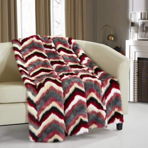 "Chic Home Orna Throw Blanket New Faux Fur Collection Cozy Super Soft Ultra Plush Micromink Backing Decorative Striped Chevron Design50"" x 60"" 50 x 60 Red"