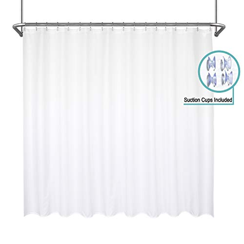 Mrs Awesome Waterproof Extra Wide Fabric Shower Curtain Liner, Suction Cups Included, Odorless and Mildew Resistant Shower Curtain for Bathroom, 108 x 72 inch, White