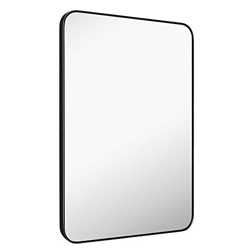 MIRROR TREND Large Metal Framed Wall Mirror for Bathroom Living Room Bedroom Hall and Entryway. (24x36-Inch, Black Flat Framed)