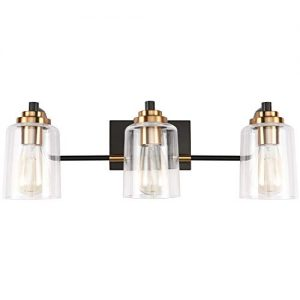 SOLFART 3 Head Vintage Bath Vanity Light Wall Decor Bathroom Over Mirror Modern Glass Shade Light Fixtures (3 Lights-Exclude Bulb)