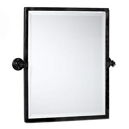 TEHOME Black Metal Framed Pivot Rectangle Bathroom Mirror Tilting Beveled Vanity Mirrors for Wall 23'' x 24'' inches
