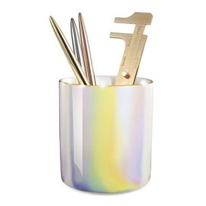Zodaca Pen Holder, Ceramic Pencil Cup Desk Organizer Makeup Brushes Holder with Gold Accent, Shiny Pearl White