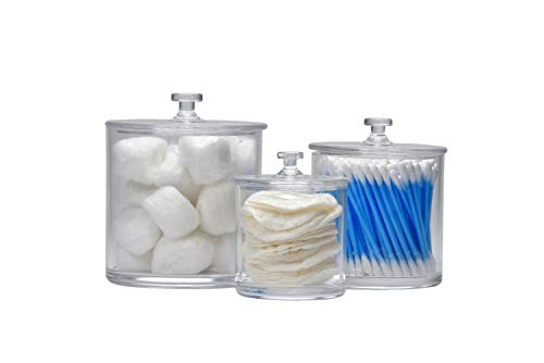IS Enterprises Set of 3 Apothecary – Acrylic Jars – Plastic Jars – Great Home Decor Pieces – Apothecary Jars Small – Apothecary Jars for Bathroom – Bath Salts – Cosmetic Pads – Bath Bomb jar