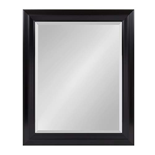Kate and Laurel Whitley Classic Decorative Framed Beveled Wall Mirror, Large 27.5x33.5, Black