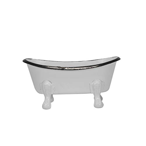 Foreside Home & Garden Black Distressed Rim White Enamel Bathtub Soap Dish