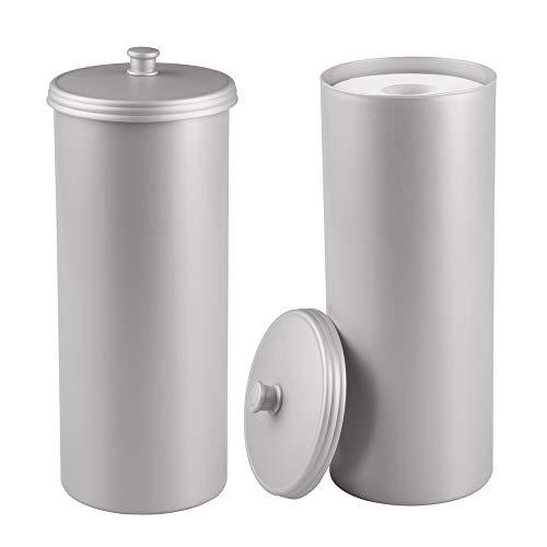 mDesign Plastic Free Standing Toilet Paper Holder Canister - Storage for 3 Extra Rolls of Toilet Tissue - for Bathroom/Powder Room - Holds Mega Rolls - 2 Pack - Light Gray