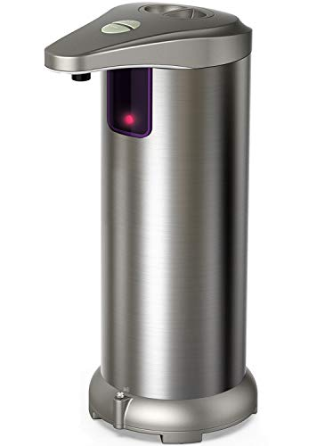 Nozama Automatic Soap Dispenser Equipped with Stainless Steel, Adjustable Switches, Infrared Motion Sensor, Waterproof Base,Suitable for Bathroom Kitchen Hotel Restaurant