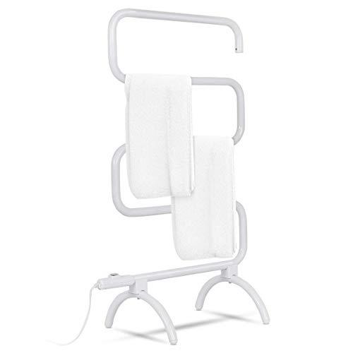 "Tangkula Towel Warmer, Home Bathroom 100W Electric 5-Bar Towel Drying Rack, Freestanding and Wall Mounted Design Towel Hanger, Towel Heater, White (23"" L x 13"" W x 36"" H)"