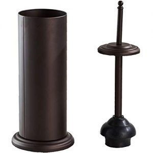 Gecious Bronze Toilet Plunger with Holder for Bathroom Metal Canister Holder Drip Cup, Heavy Duty, Deep Cleaning Bronze