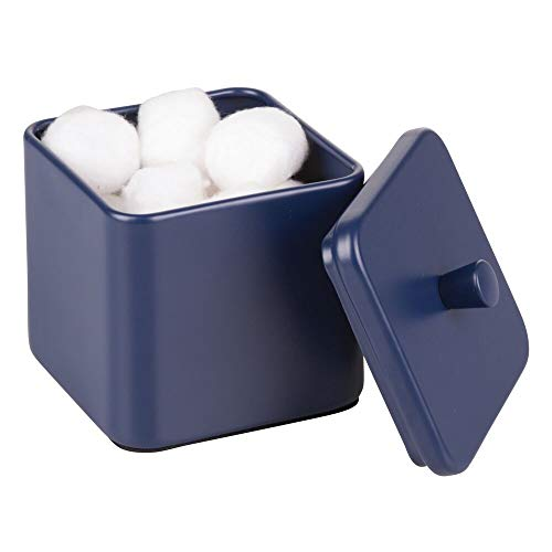 mDesign Metal Bathroom Vanity Countertop Storage Organizer Canister Apothecary Jar for Cotton Swabs, Rounds, Balls, Makeup Sponges, Blenders, Bath Salts - Square - Navy Blue