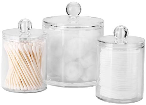 Pocono Homeware Co. Bathroom Canisters 3 Pack, Acrylic Clear Qtip Holder Dispenser for Cotton Swabs/Cotton Balls/Cotton Rounds, Bathroom Accessories Apothecary Jars Vanity Organizer, 10oz/20oz