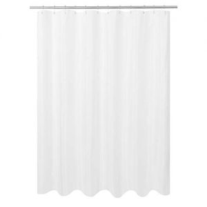 "N&Y HOME Ultimate Waterproof Fabric Shower Curtain or Liner, Machine Washable & Breathable TPU, Use for Bath Tub/Stall, White, 72""x72"" (Standard Size)"