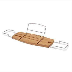 Umbra Aquala Bathtub Tray Extendable, Bamboo Luxury Bath Caddy, 71.1 x 21.6 x 3.8 cm, Natural