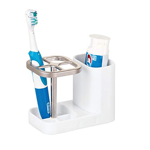 mDesign Bathroom Vanity Countertop Toothpaste & Toothbrush Holder Stand with Cup/Dental Center, Holds Electric Toothbrushes - BPA Free - White/Satin