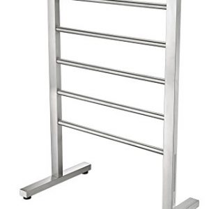 ANZZI Riposte 6-Bar Floor Mount Towel Warmer in Brushed Nickel | Energy Efficient 65W Electric Plug in Heated Towel Rack for Bathroom | Stainless Steel Towel Heater Rail Quick Towel Dryer | TW-AZ102BN