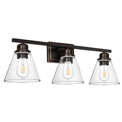 Hykolity 3-Light Bathroom Light, Led Edison Bulbs Included, Oil Rubbed Bronze Vanity Light Fixtures, Bathroom Wall Sconce Lighting with Clear Glass Shades, ETL Listed