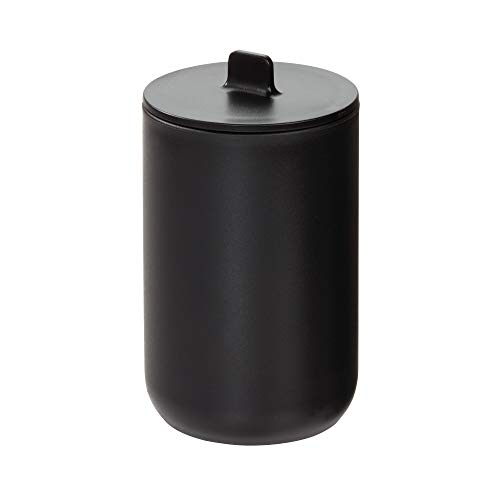 iDesign Cade Canister Jar with Lid for Cosmetics and Makeup Storage, Bathroom, Countertop, Desk, and Vanity, Matte Black