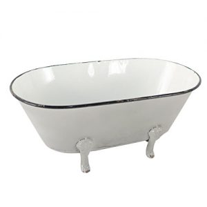 Foreside Home & Garden White Distressed Black Rim Enamel Decorative Bathtub