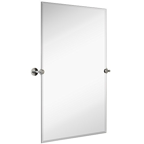 """Hamilton Hills Large Pivot Rectangle Mirror with Polished Chrome Wall Anchors   Silver Backed Adjustable Moving & Tilting Wall Mirror   24"""" x 36"""" Inches"""