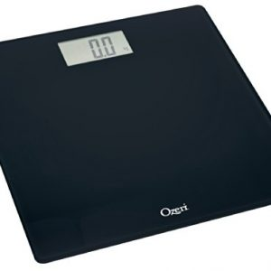 Ozeri Precision Digital Bath Scale (400 Lbs Edition), in Tempered Glass With Step-On Activation, Black, Large