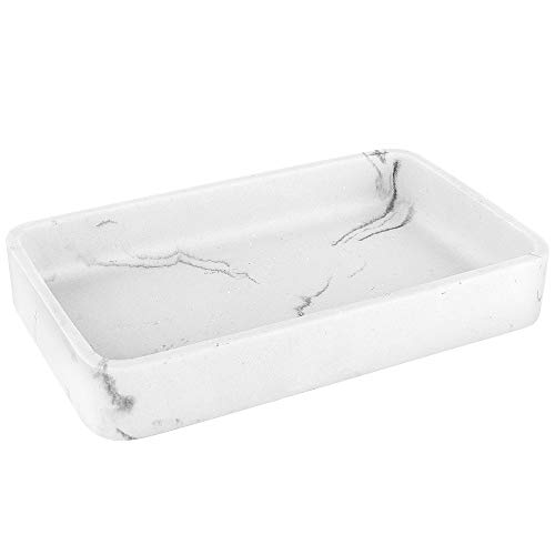 Luxspire Marble Vanity Decorative Tray, 26 X 16 X 4cm Resin Bathtub Tray, Makeup Perfume Organizer, Serving Storage Tray Bathroom Countertop Organization - White Marble