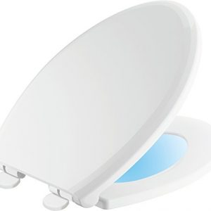 Delta Faucet 813902-N-WH Sanborne Elongated Nightlight Toilet Seat with Slow Close and Quick-Release, White