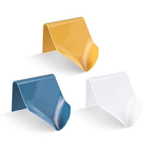 meidong Soap Dish Soap Holder Bar Soap Holder for Bathroom Shower Non-Slot V-Shaped Slope Better Draining Wall Mounted Multipurpose Holder for Soap/Phone/Dish Sponge (3PCs Yellow Blue White)