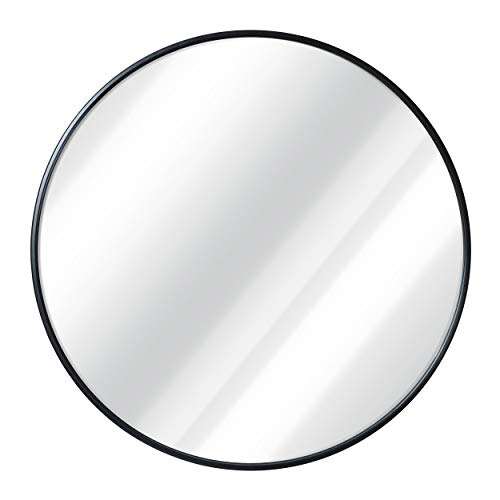 Black Round Wall Mirror - 24 Inch Large Round Mirror, Rustic Accent Mirror For Bathroom, Entry, Dining Room, & Living Room. Metal Black Round Mirror For Wall, Vanity Mirror Large Circle Wall Mirror