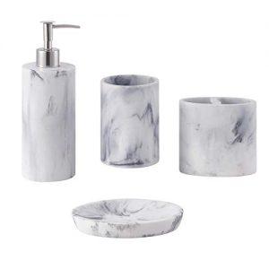 ZCCZ Bathroom Accessories Set Complete, 4 Piece Marble Pattern Bathroom Sets Accessories Toothbrush Holder Set Bath Accessories Set with Soap Dispenser, Toothbrush Holder, Tumbler, Soap Dish