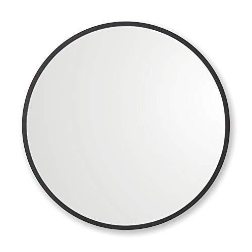 """Better Bevel 24"""" x 24"""" Black Rubber Framed Round Mirror"""