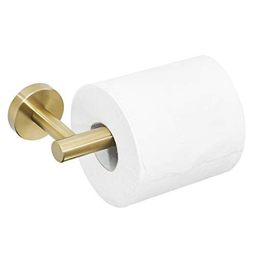 BATHSIR Luxury Brushed Gold Toilet Paper Holder, Round Base Stainless Steel Paper Roll Holder Bathroom Accessories, Wall Mount