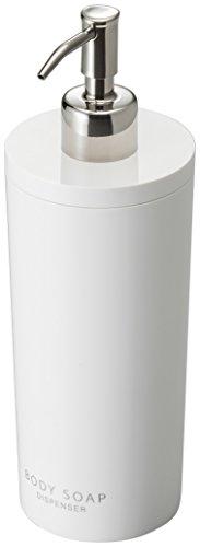 Yamazaki Tower Body Soap Dispenser Contemporary Bottle Pump for Shower, Round, White