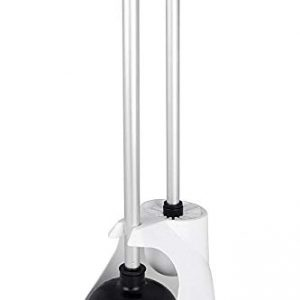 Neiko 60167A Toilet Plunger and Brush Combo Caddy Set, Aluminum Handles | White Canister Base