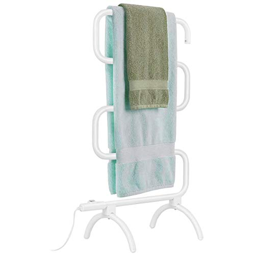 "Tangkula Towel Warmer, Home Bathroom 100W Electric 5-Bar Towel Drying Rack, Freestanding and Wall Mounted Design Towel Hanger, Towel Heater, White (23""L x 13""W x 36""H)"