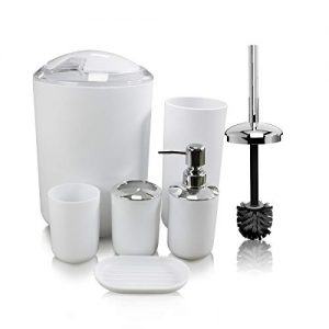 White Bathroom Accessories Set Complete,Soeland 6 Pieces Plastic Luxury Bath Vanity Countertop Accessories Sets, Toothbrush Holder,Toothbrush Cup,Soap Dispenser,Soap Dish,Toilet Brush Holder,Trash Can