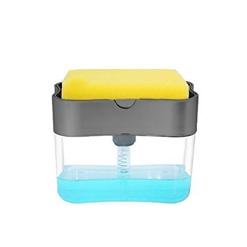 ROXTAK Soap Pump Dispenser and Sponge Dish Sponge Holder Kitchen Sink Dish Washing Soap Dispenser 13 Ounces
