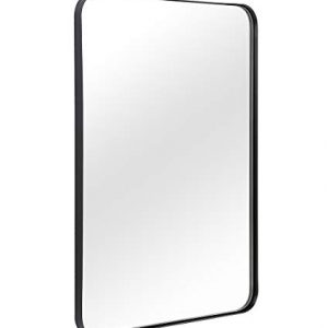 "ANDY STAR Wall Mirror for Bathroom, Mirror for Wall with Black Metal Frame 22"" X 30"", Decorative Wall Mirrors for Living Room,Bedroom, Glass Panel Rounded Corner Hangs Horizontal Or Vertical"