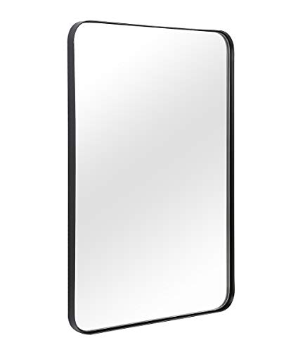 """ANDY STAR Wall Mirror for Bathroom, Mirror for Wall with Black Metal Frame 22"""" X 30"""", Decorative Wall Mirrors for Living Room,Bedroom, Glass Panel Rounded Corner Hangs Horizontal Or Vertical"""