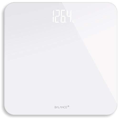 Digital Body Weight Bathroom Scale from GreaterGoods (White), Premium Designer Scale with Hidden Shine-Through Display