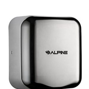 Alpine Hemlock Stainless Steel Commercial Hand Dryer - Heavy Duty High Speed Automatic Hand Dryer - for Public Restrooms in Offices, Malls, Hospitals - 1800 Watts, 220-240 Volts - Chrome