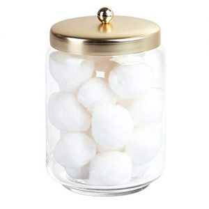 mDesign Glass Bathroom Vanity Storage Organizer Apothecary Canister Jar for Cotton Swabs, Cotton Rounds, Cotton Balls, Makeup Sponges, Bath Salts - Clear/Soft Brass
