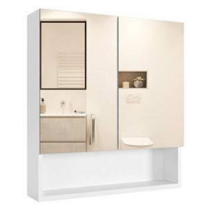 Homfa Bathroom Wall Mirror Cabinet with Double Doors and Adjustable Shelf, 20.9 X 22.8 Inch Wooden Medicine Cabinet Multipurpose Storage Organizer Kitchen Cupboard, Cream