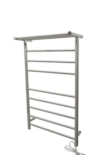 ANZZI Eve 8 Bar Wall Mounted Towel Warmer with Top Shelf in Brushed Nickel | Energy Efficient 93W Electric Plug in Heated Towel Rack for Bathroom | Steel Towel Heater Rail On/Off Switch | TW-AZ012BN