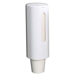 "Samhe Pull Type Cup Dispenser, Paste Mountable Cup Holder, Fits 4oz - 7oz Cone or Flat Bottom Cups, 9"" Tube Length, Mounting Water Dispenser Cooler or Wall White"