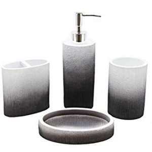 Marina Decoration Luxury Modern 4 Piece Bath Accessories Set Ensemble Included Bathroom Liquid Soap Lotion Dispenser Pump Toothbrush Holder Tumbler and Soap Dish, Unicorn Ribbed Style Charcoal Black W